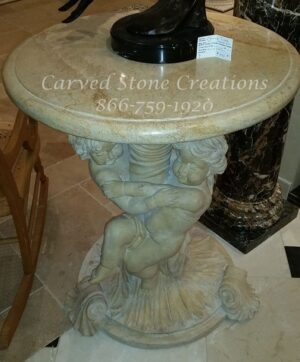 Twin Cherub Pedestal Table, Beige Venato Marble