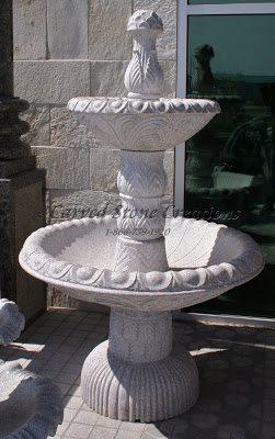 "2-Tier Egg-Dart Fountain, D48"" x H79"", Wild Rose Granite"