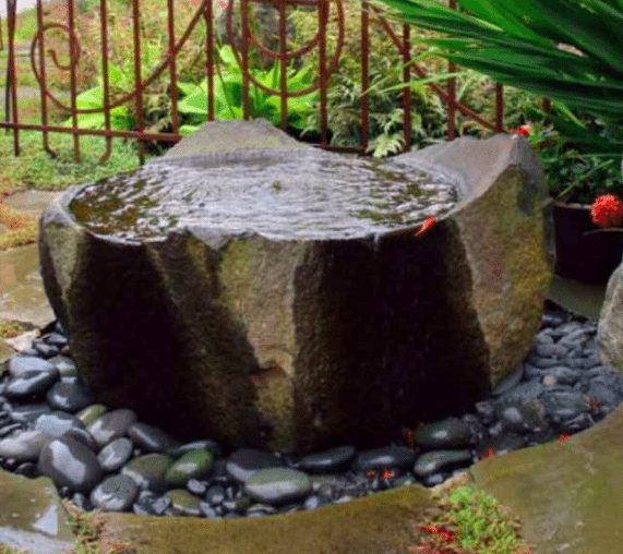 Basalt bowl fountain