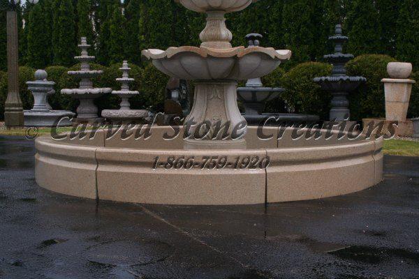 12' Round Cypress Fountain Surround, Golden Cypress Granite