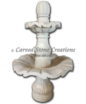 "2-Tier Scalloped Fountain, D32"" x H51"", Golden Cypress Granite"