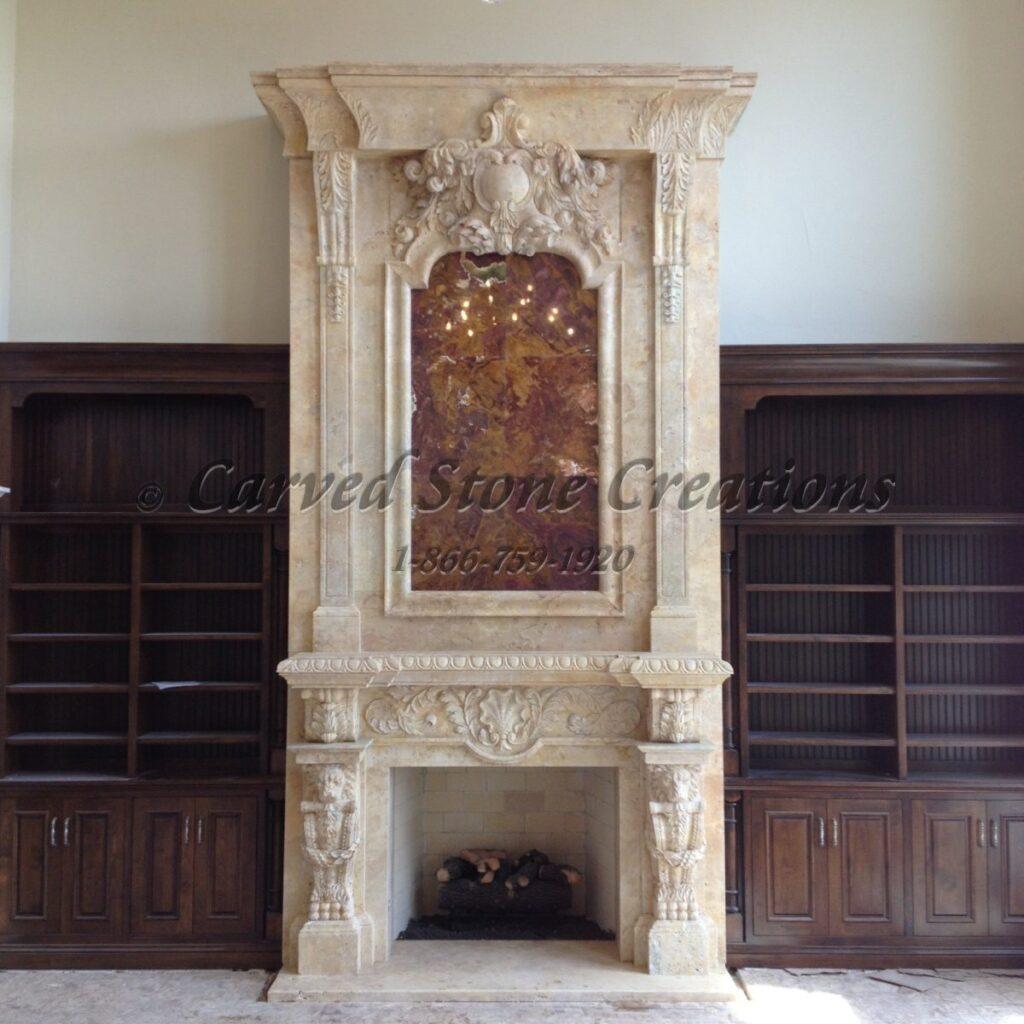 stone fireplace overmantel