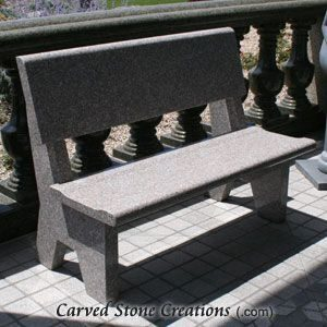 Park Bench With Backrest, 4-FT Wild Rose Granite