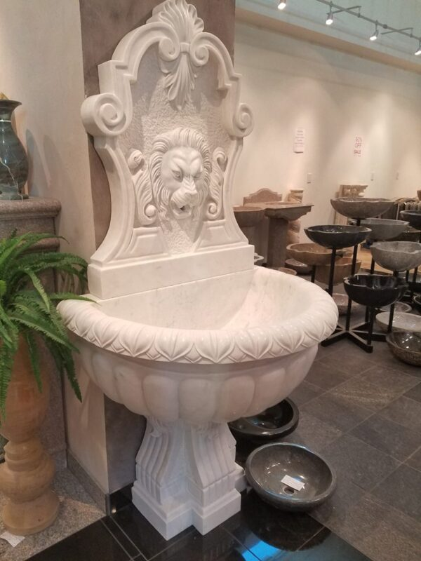 "Lion Wall Fountain With Scrolled Pedestal, H72""x W36"", White Marble"