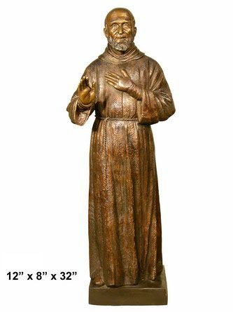 Bronze St. Francis Of Assisi, 12x8x32""