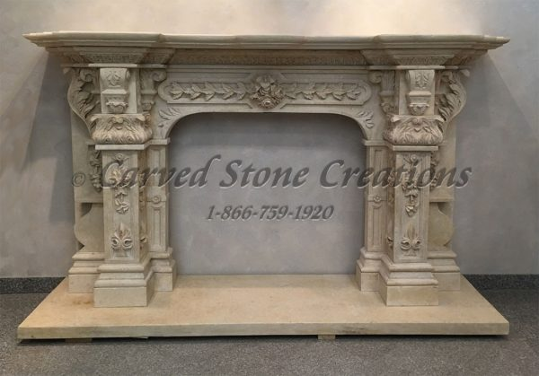 Carved Limestone Fireplace Mantel Surround with Acanthus Detailing