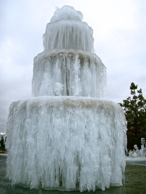 Granite Fountain full of ice